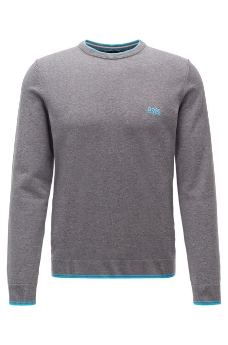 Crew-neck sweater with contrast details, Grey
