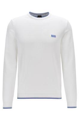 Pullover aus Baumwoll-Mix mit Rundhalsausschnitt und Kontrast-Details, Weiß