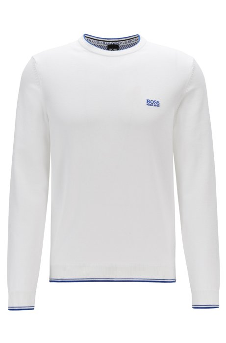 Crew-neck sweater with contrast details, White