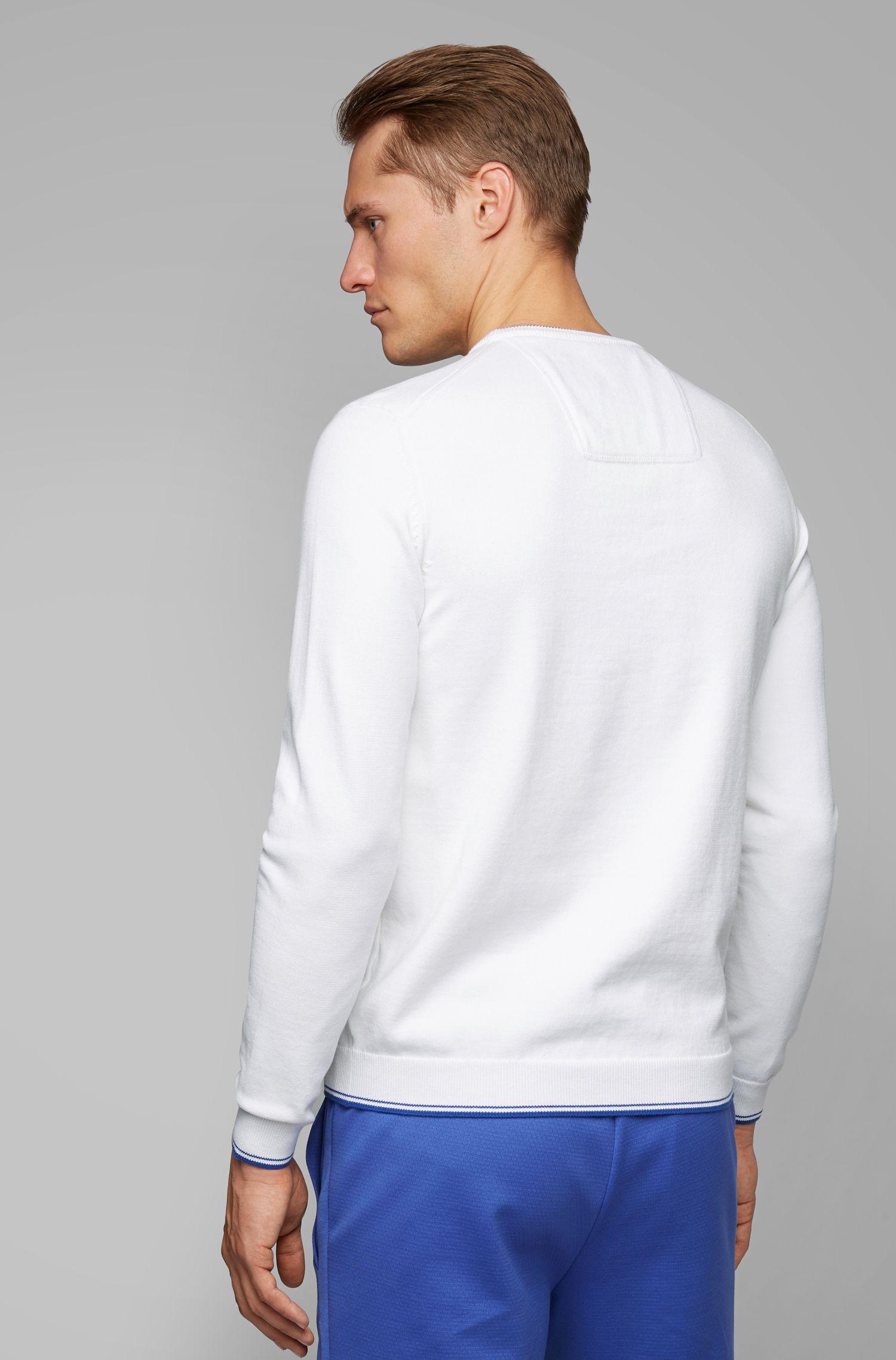 Jersey de cuello redondo con detalles en contraste, Blanco