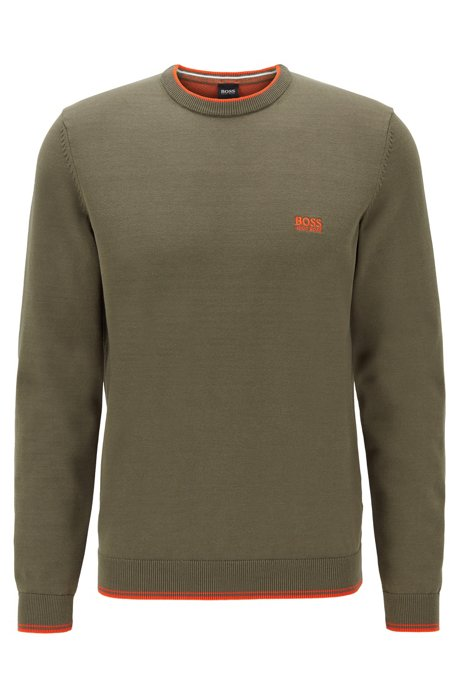 Crew-neck sweater with contrast details, Dark Green