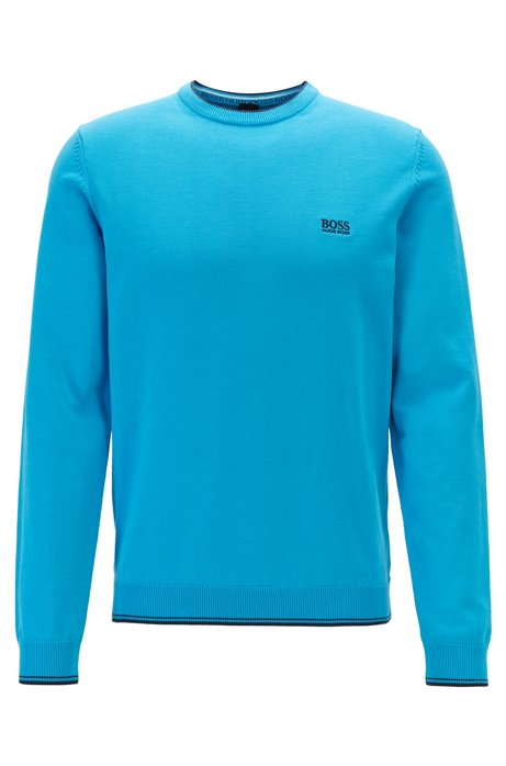 Crew-neck sweater with contrast details, Blue