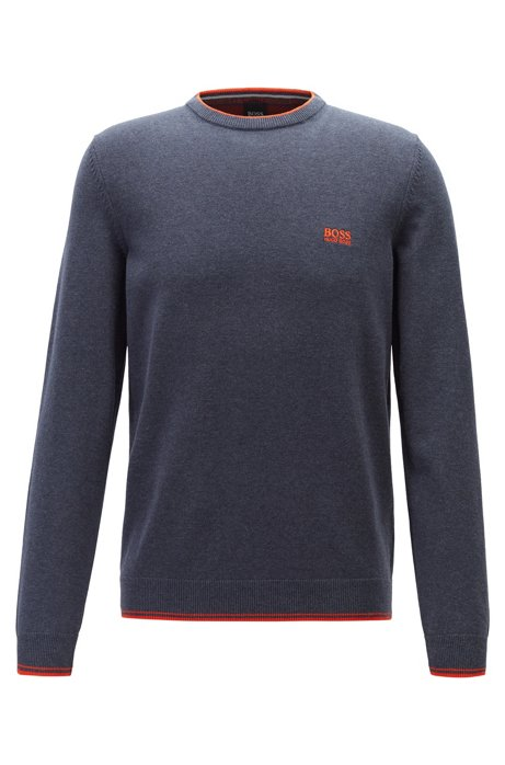 Crew-neck sweater with contrast details, Dark Blue