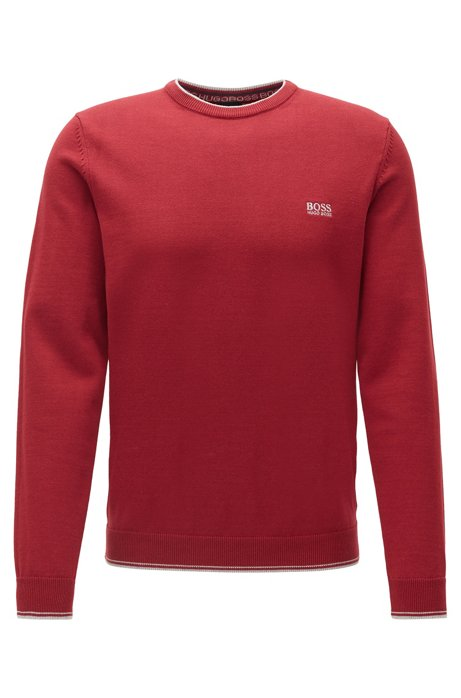 Crew-neck sweater with contrast details, Red
