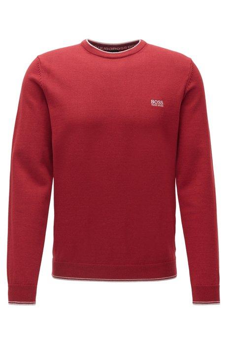 Pullover aus Baumwoll-Mix mit Rundhalsausschnitt und Kontrast-Details, Rot
