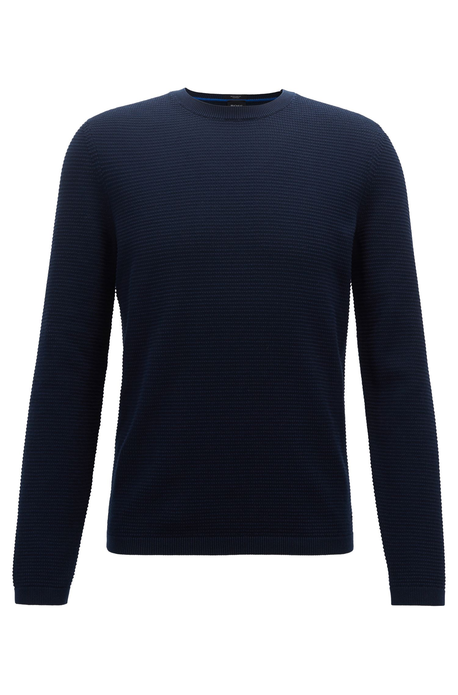 Limited-edition knitted sweater in micro-structure Egyptian cotton, Dark Blue