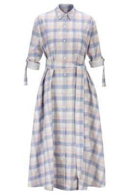 Robe-chemise à imprimé carreaux en lin mélangé à du coton, Fantaisie
