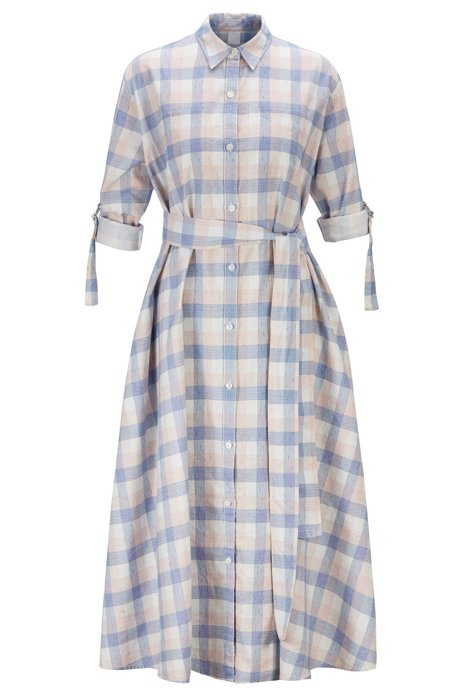 Check-print shirt dress in linen with cotton, Patterned