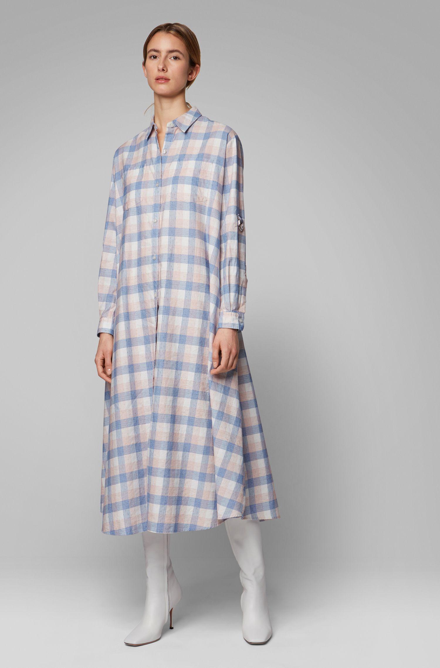 Vestido camisero con estampado de cuadros en lino con algodón, Fantasía