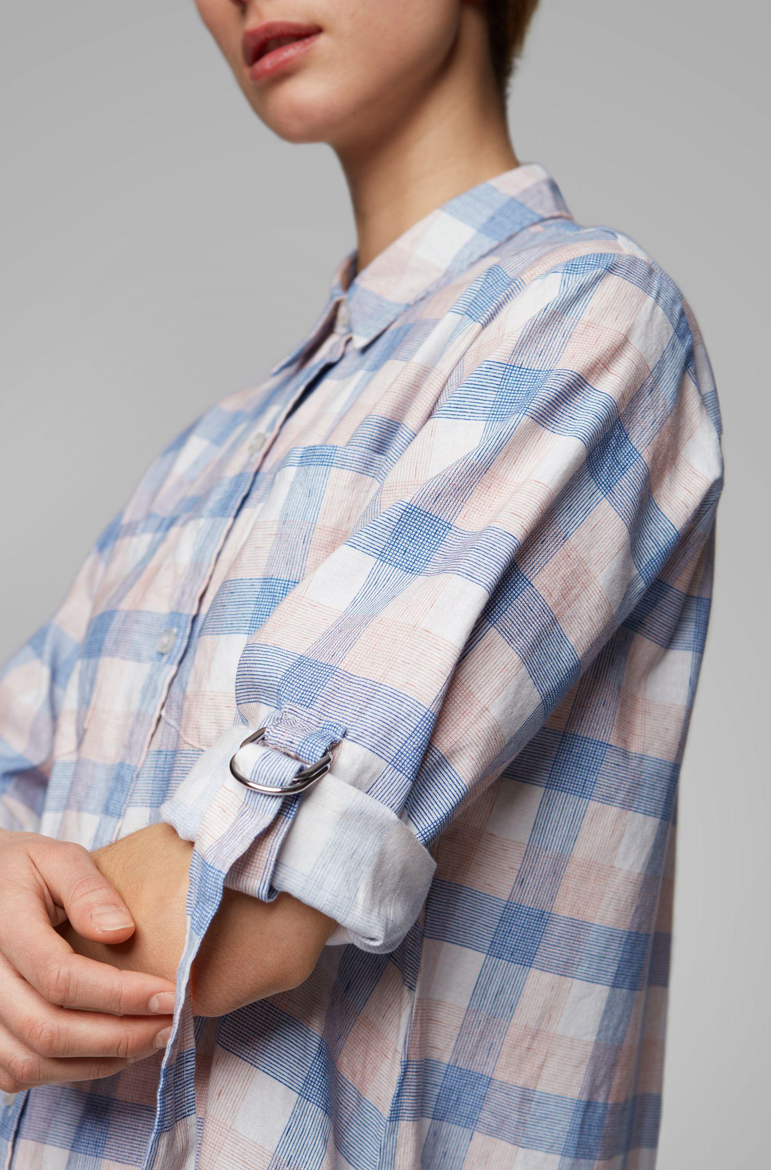 Overhemdjurk met een geruite print van linnen met katoen, Bedrukt
