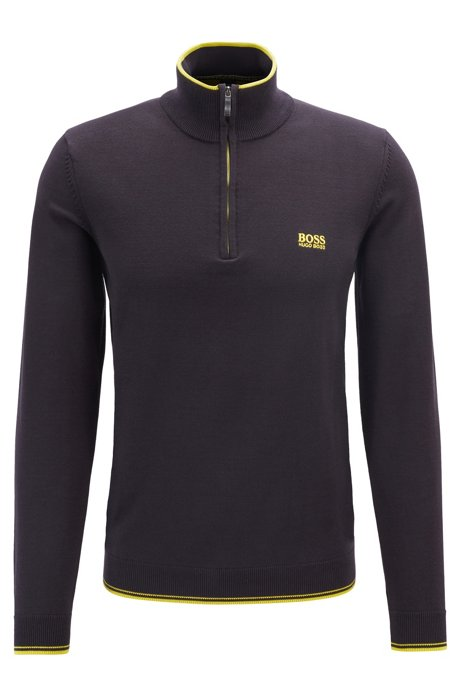 Zip-neck sweater in a cotton blend, Black
