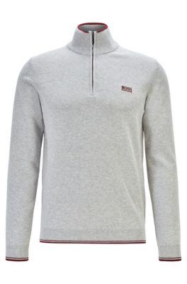 Zip-neck sweater in a cotton blend, Light Grey