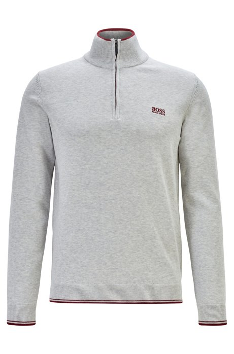 Zip-neck sweater in a cotton blend, Light Grey