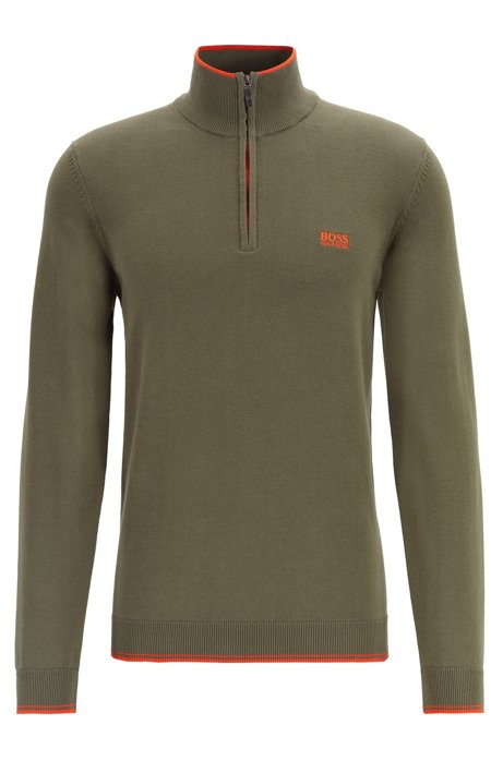 Zip-neck sweater in a cotton blend, Dark Green