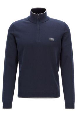 Zip-neck sweater in a cotton blend, Dark Blue