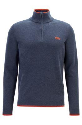 Pullover aus elastischem Baumwoll-Mix mit Troyer-Kragen, Dunkelblau