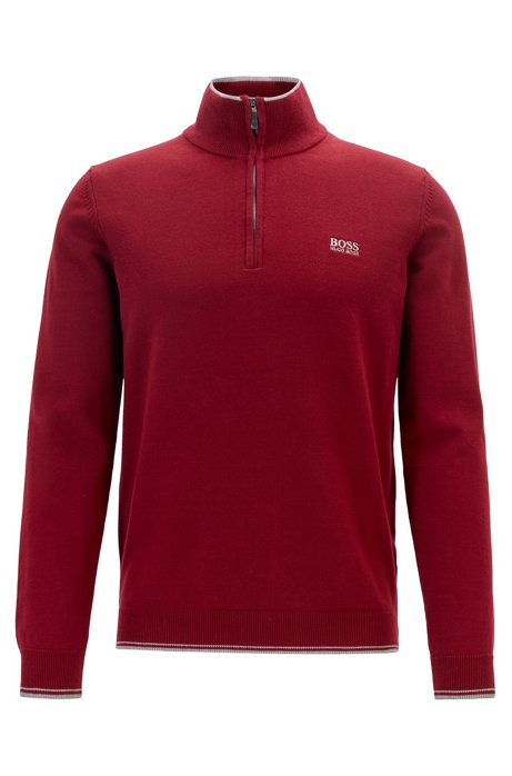 Zip-neck sweater in a cotton blend, Red