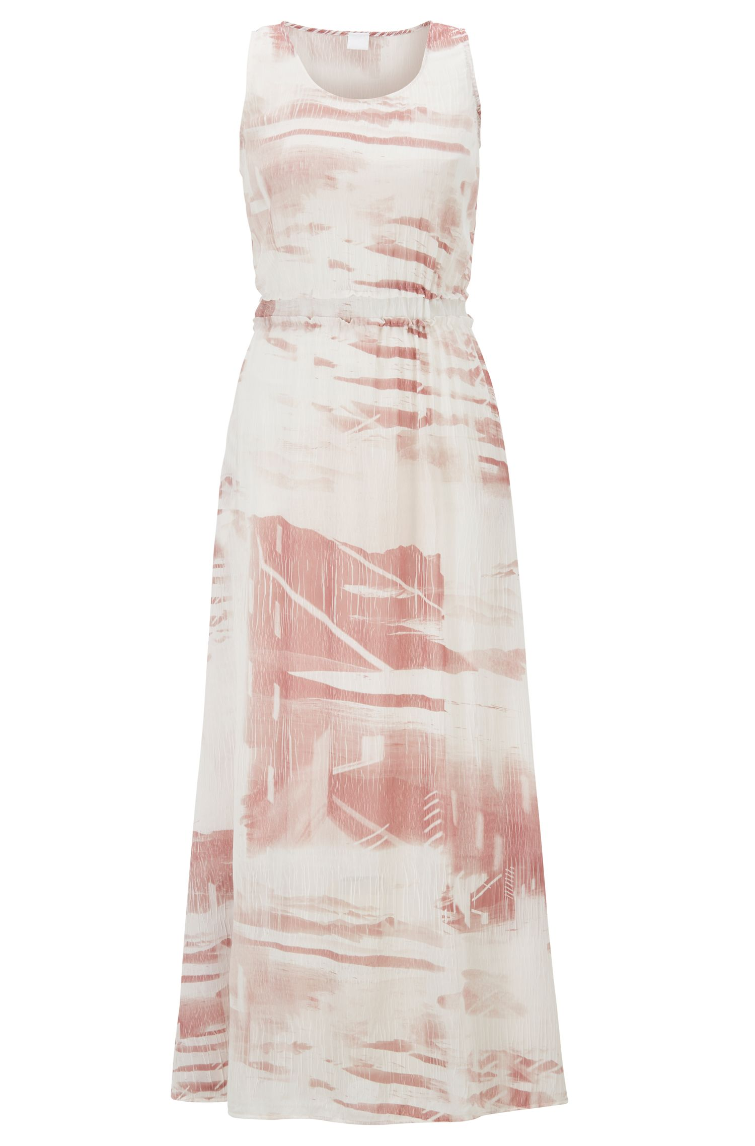 Regular-fit maxi-jurk met geplisseerde details, Bedrukt
