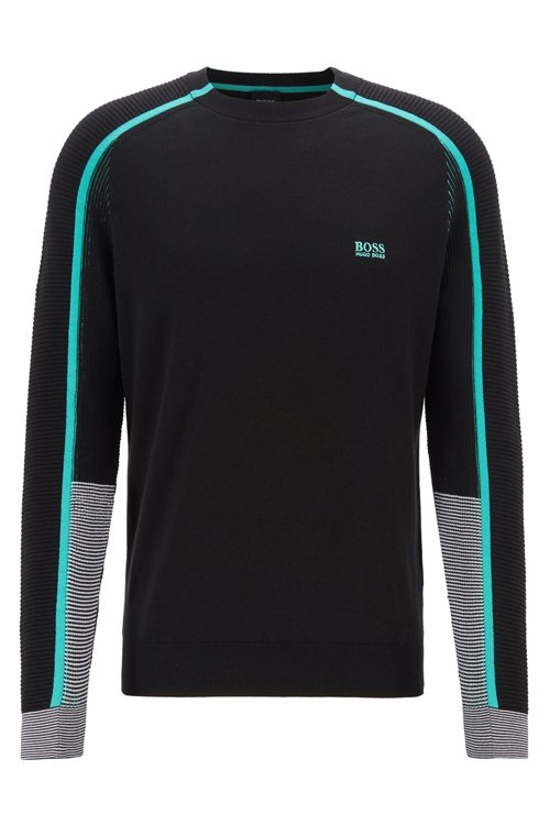 Hugo Boss - Knitted sweater in a cotton blend with tonal details - 1