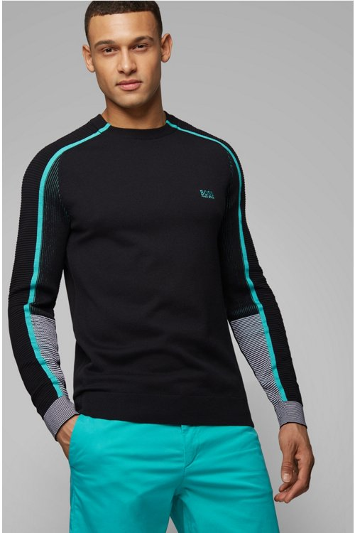Hugo Boss - Knitted sweater in a cotton blend with tonal details - 3