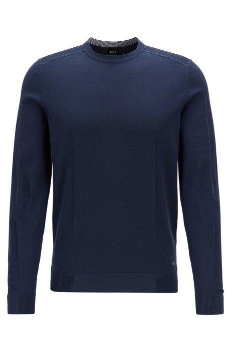 Gebreide trui met gemengde structuurdetails, Donkerblauw