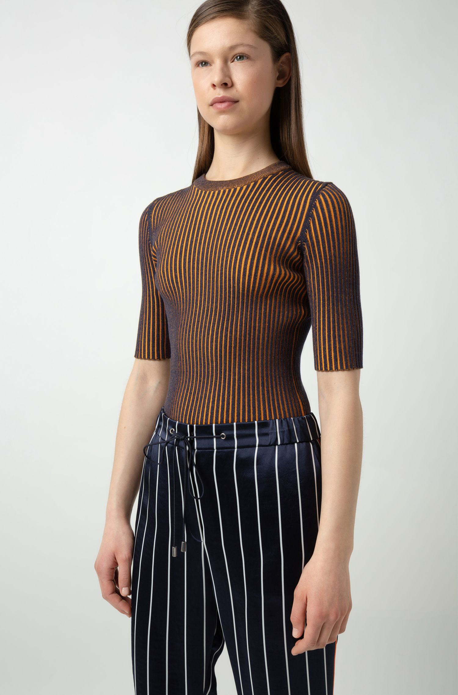 Slim-fit knitted sweater with two-tone stripe, Patterned