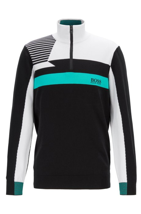 Colour-block zip-kneck sweater with water-repellent finish, Black