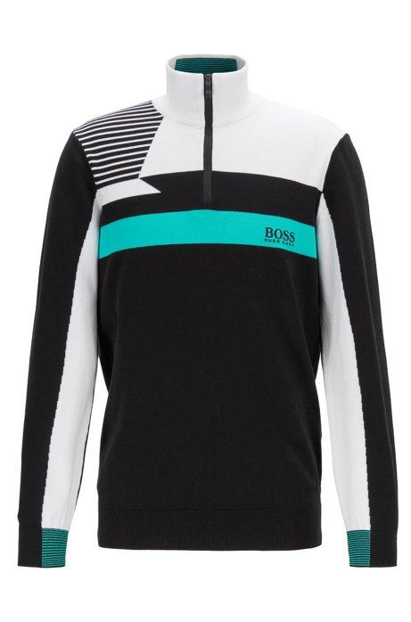 BOSS Pullover in Colour Block Optik mit Troyerkragen und
