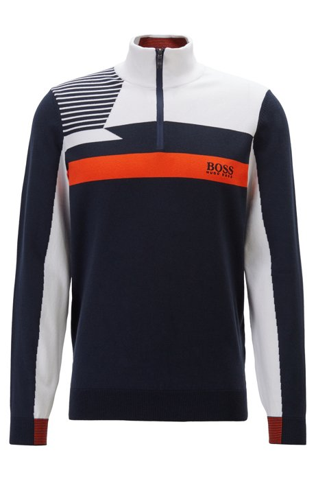 Colour-block zip-kneck sweater with water-repellent finish, Dark Blue