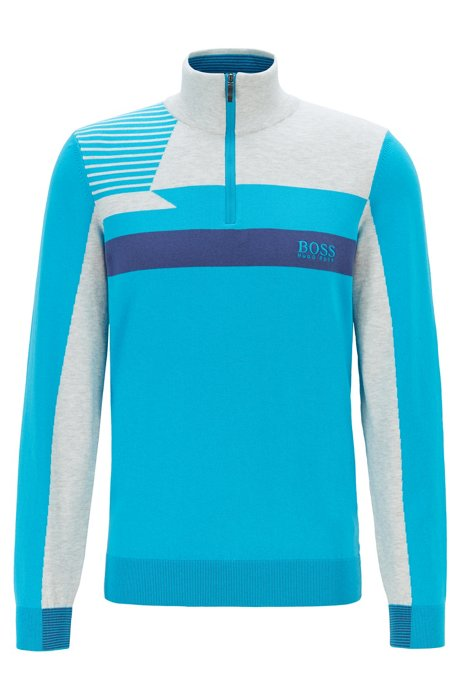 Colour-block zip-kneck sweater with water-repellent finish, Blue