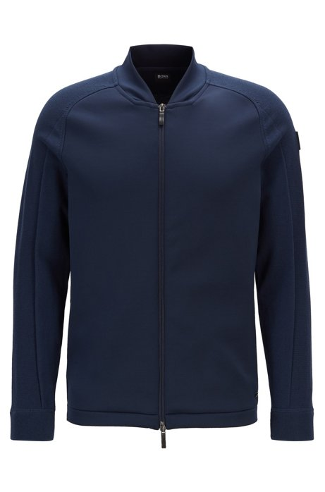 Hybrid knitted jacket with shifted seams, Dark Blue