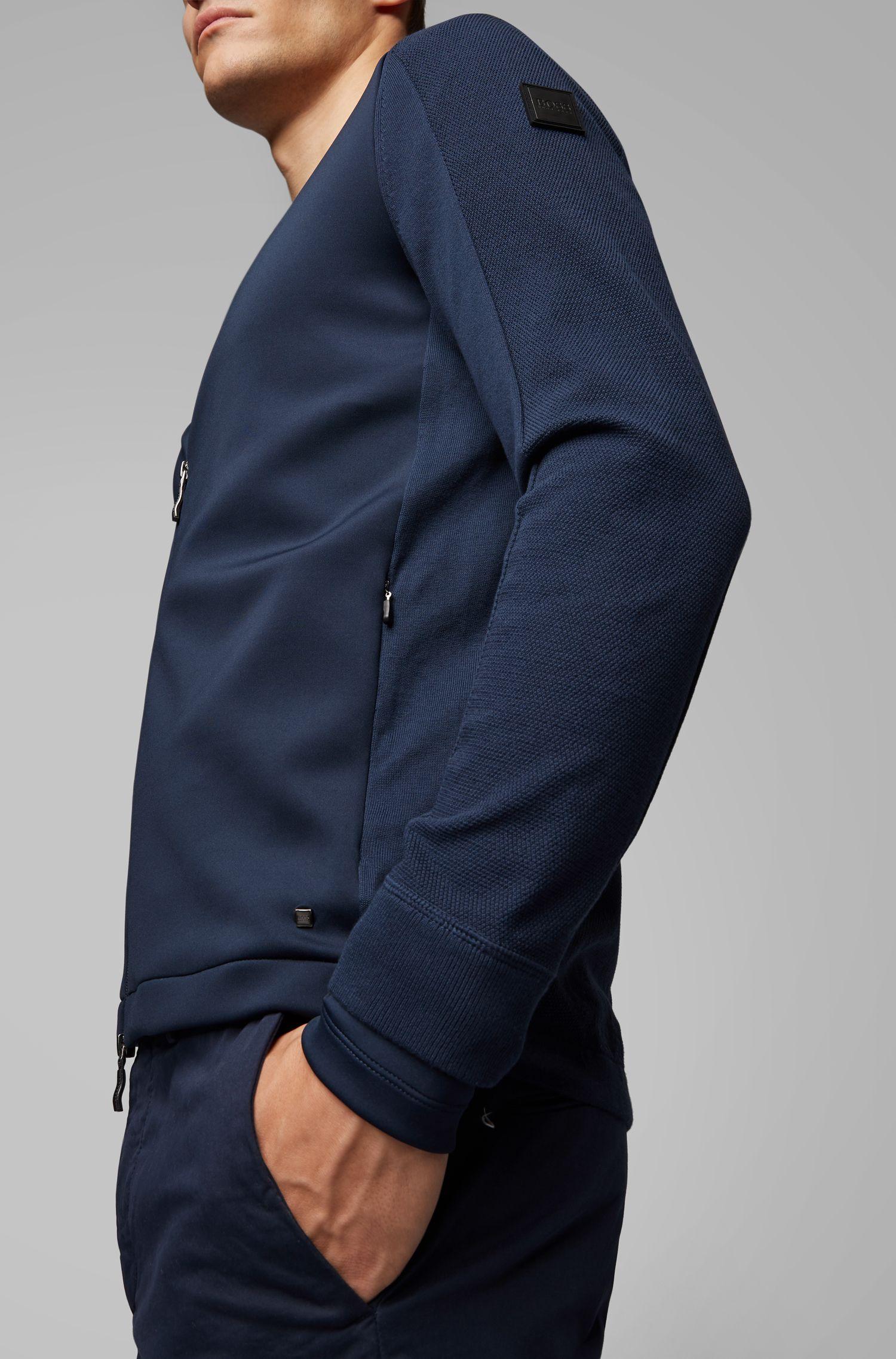 Cazadora de punto híbrida con costuras desplazadas, Azul oscuro