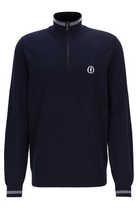 The Open Exclusive water-repellent sweater in organic cotton, Dark Blue
