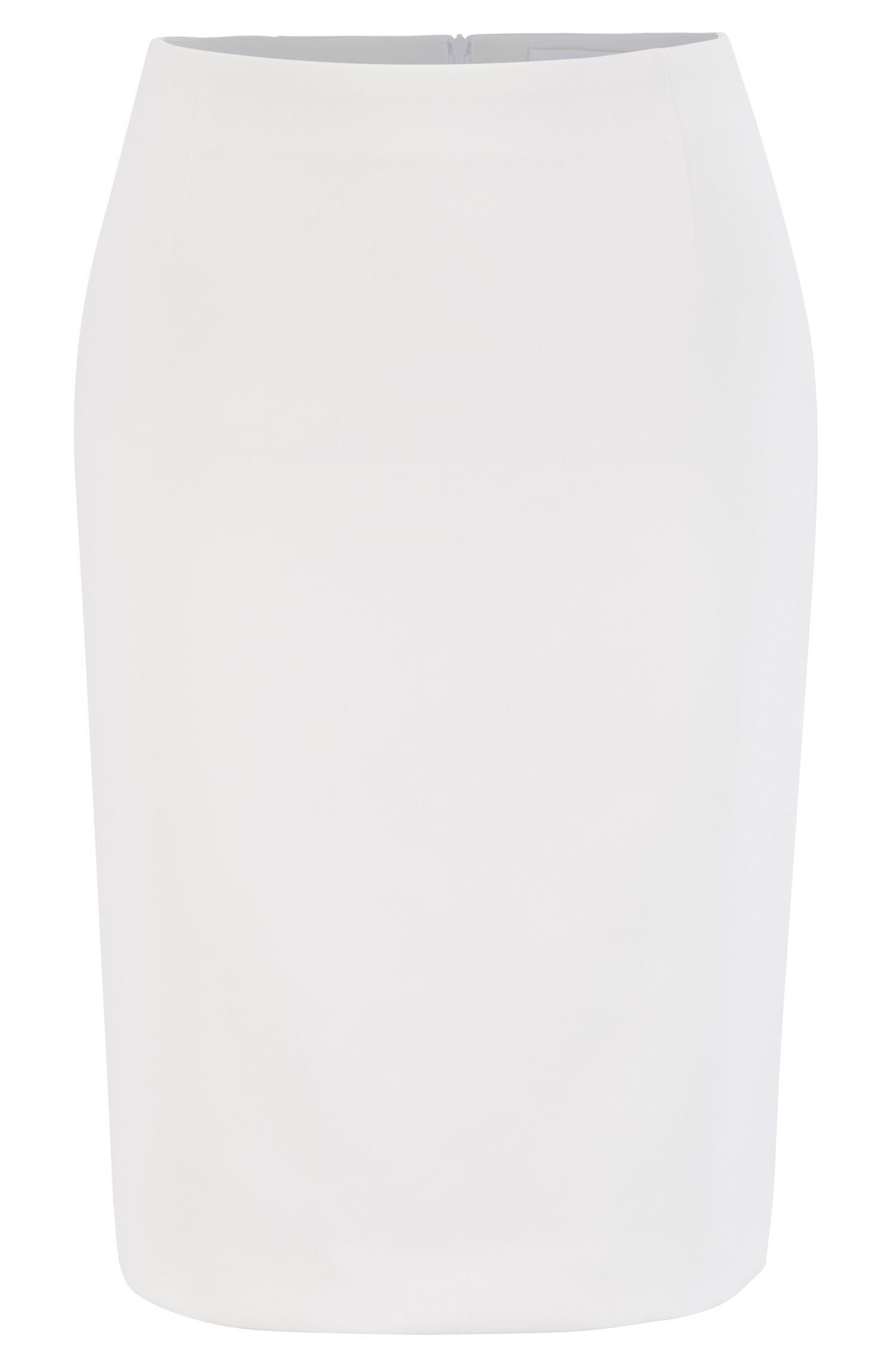 Pencil skirt in Portuguese double-faced fabric with stretch, Natural