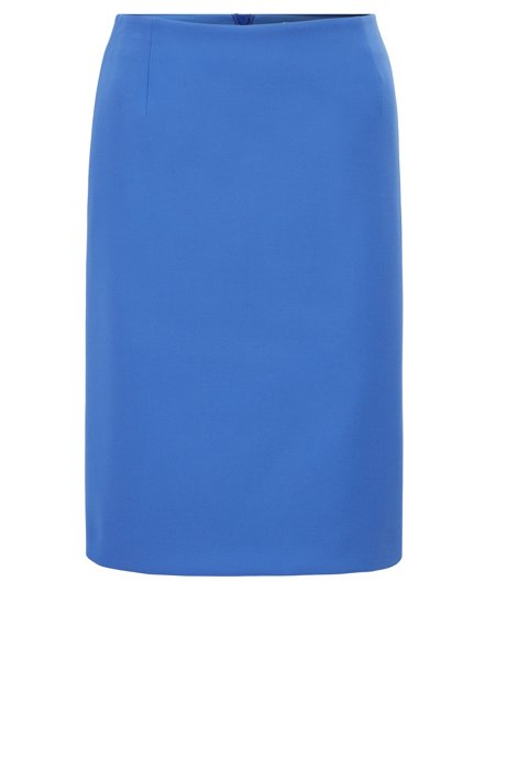 Pencil skirt in Portuguese double-faced fabric with stretch, Blue