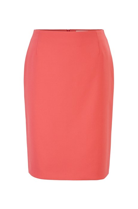 Pencil skirt in Portuguese double-faced fabric with stretch, Pink