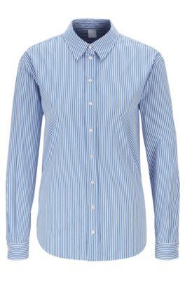 Regular-fit blouse in stretch poplin with vertical stripe, Blue