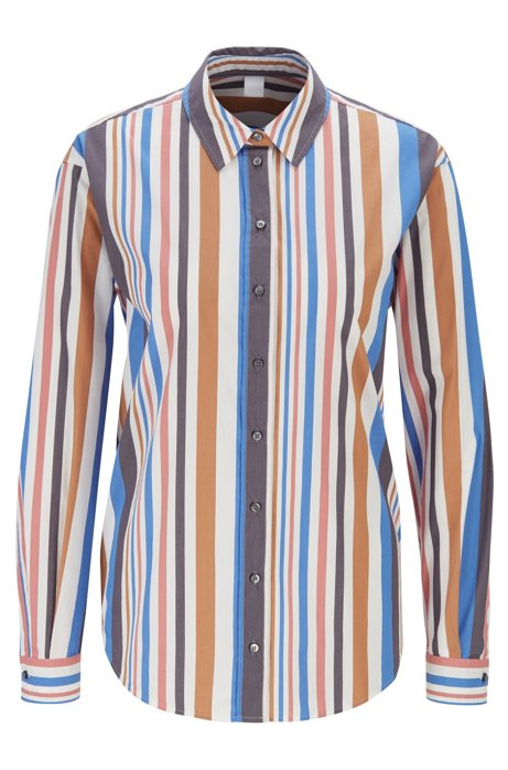Regular-fit blouse in stretch poplin with vertical stripe, Patterned