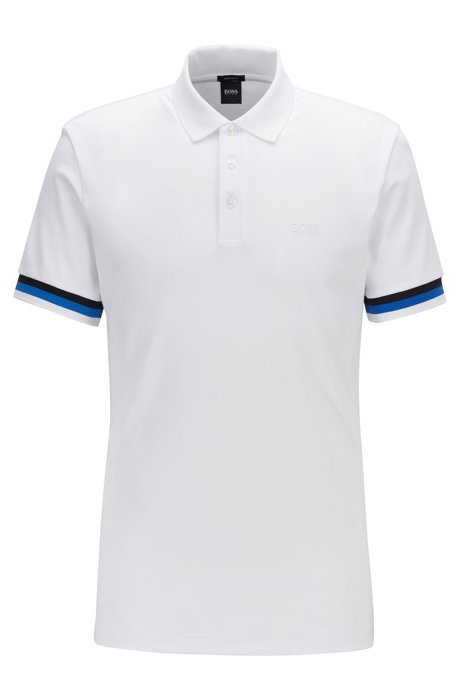 Regular-fit polo shirt in interlock cotton, White