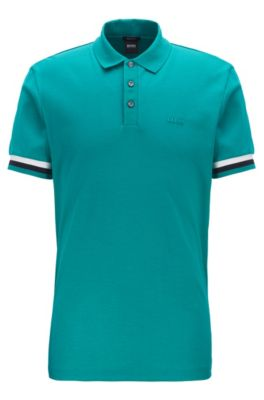 Polo Regular Fit en coton interlock, Vert