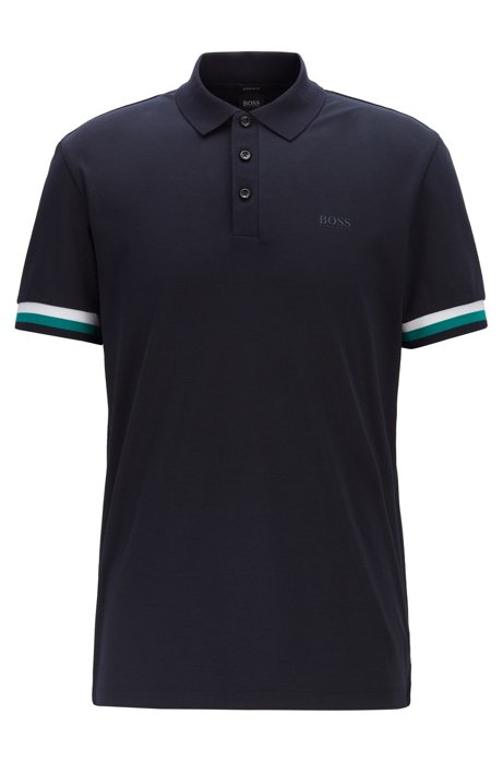 Polo regular fit in cotone intrecciato, Blu scuro