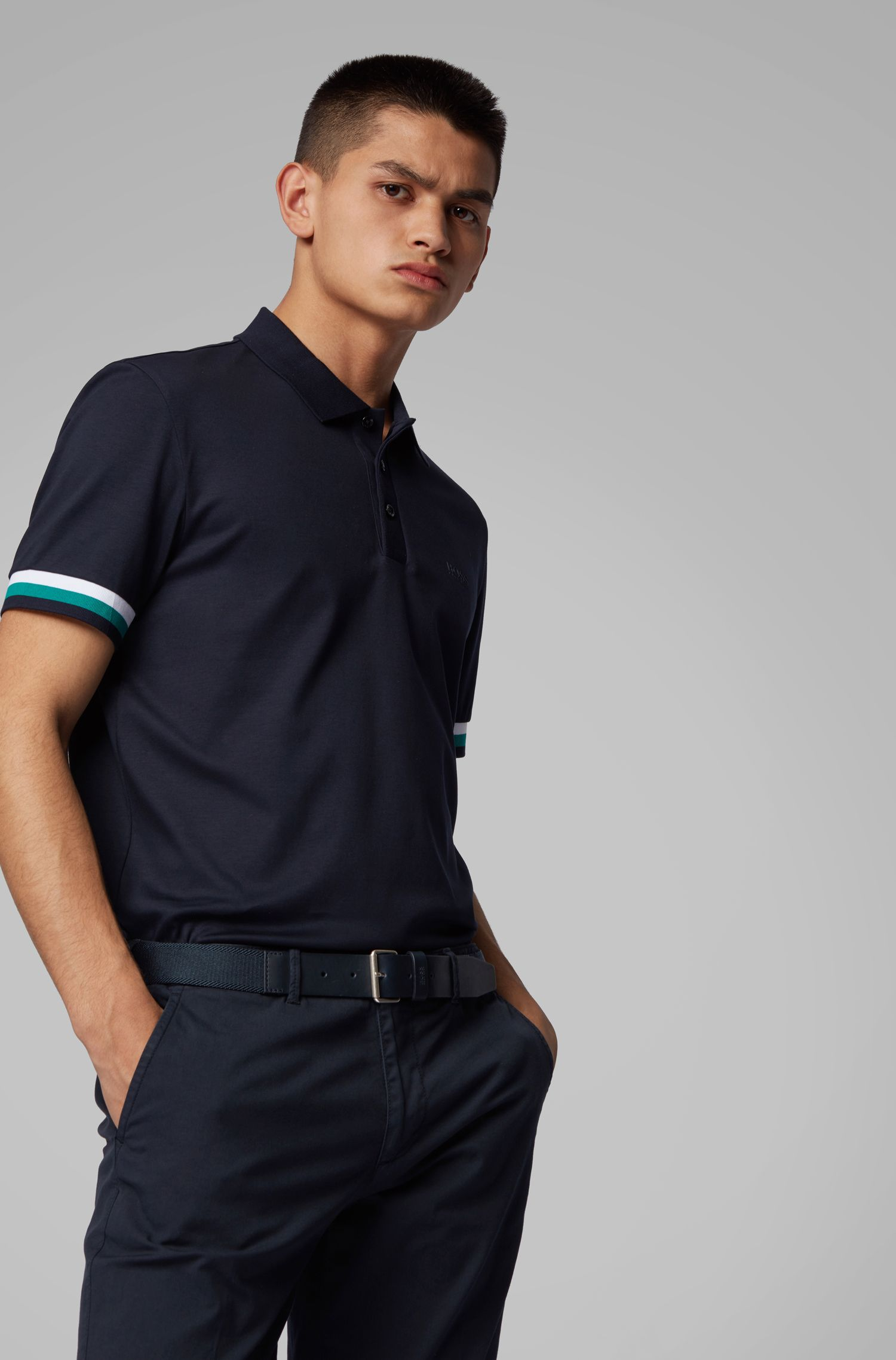 Regular-fit polo shirt in interlock cotton, Dark Blue
