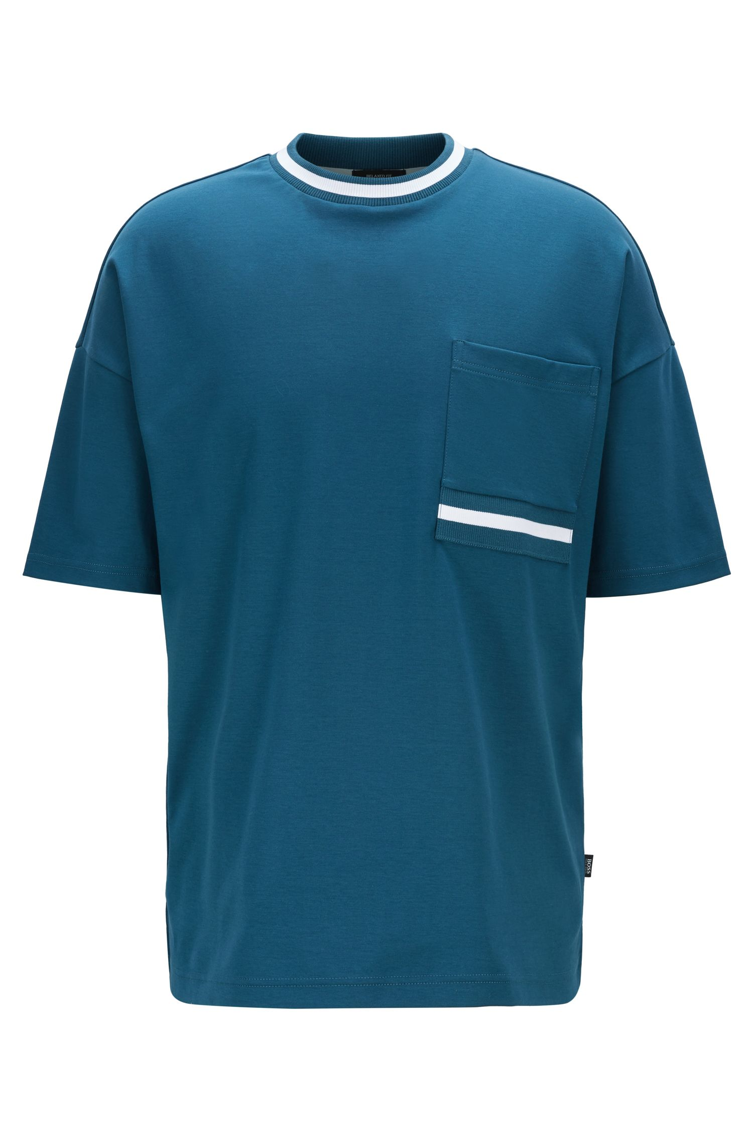 T-shirt relaxed fit in morbidissimo cotone, Blu