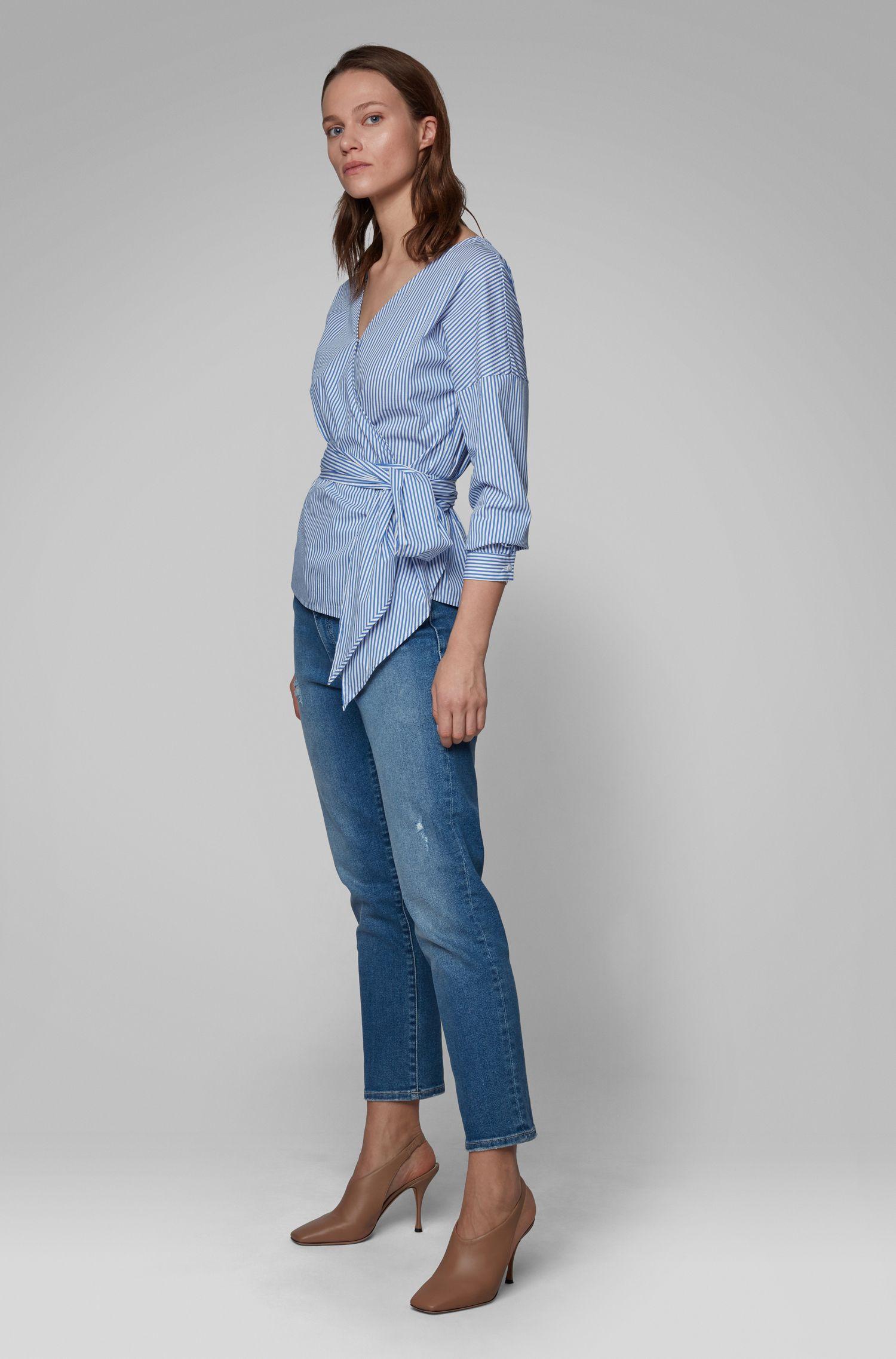 Camicetta regular fit in popeline elasticizzato a righe, Blu