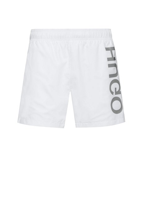 Quick-drying swim shorts with large-scale reverse logo, White