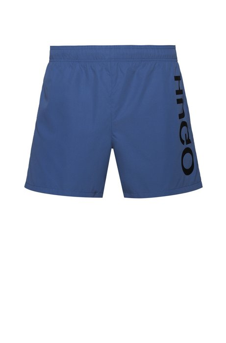 Quick-drying swim shorts with large-scale reverse logo, Blue