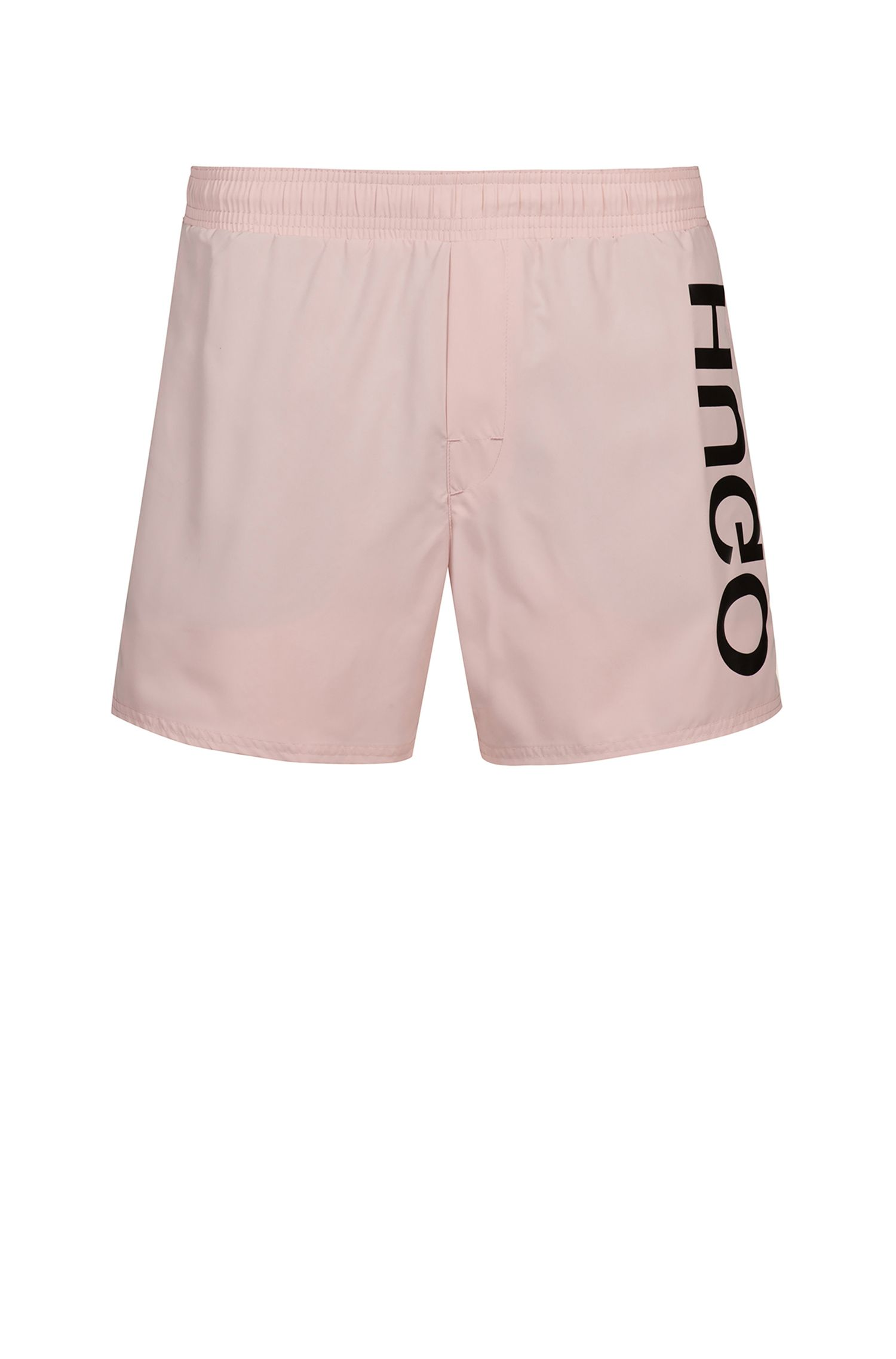 Quick-drying swim shorts with large-scale reverse logo, light pink