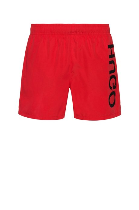 Quick-drying swim shorts with large-scale reverse logo, Red