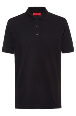 Reversed-logo polo shirt in cotton piqué, Zwart