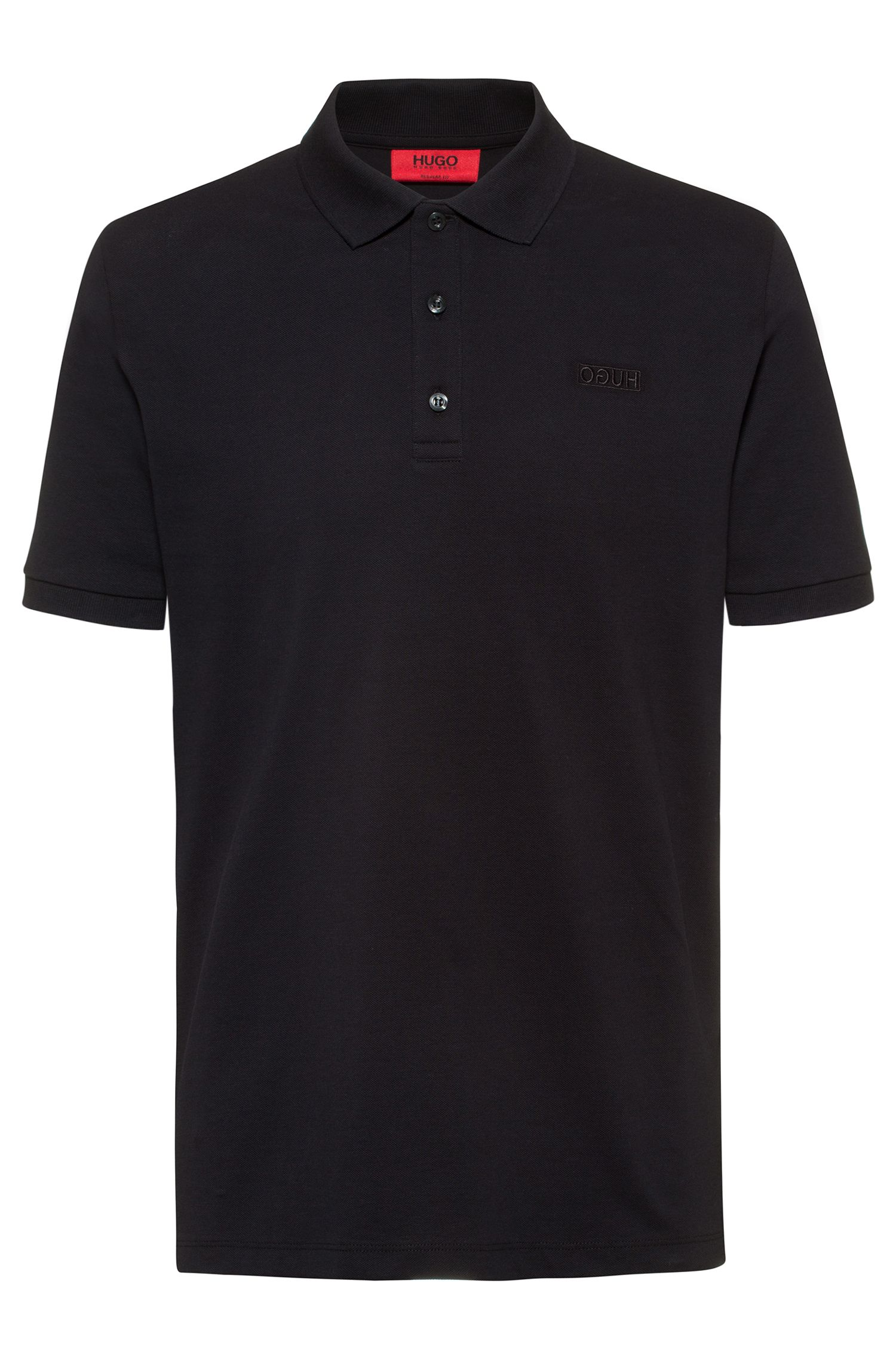 Reversed-logo polo shirt in cotton piqué, Schwarz
